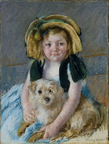 """Sara son chien"" - Mary Cassatt"