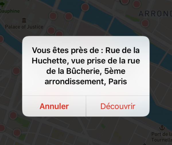 Exemple du message de géolocalisation sur l'application
